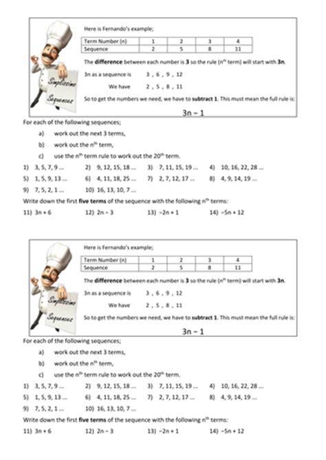 pattern sequences worksheet ks3 maths ks4 the nth term worksheet by tristanjones
