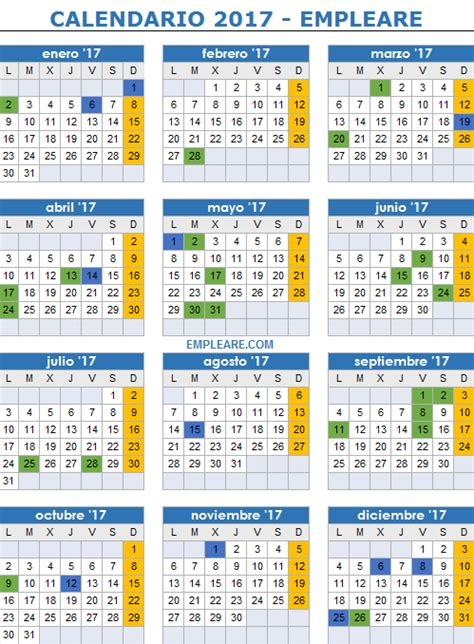 Calendario 2017 Y Dias Festivos Calendario Laboral Y D 237 As Festivos Para 2017 D 237 As