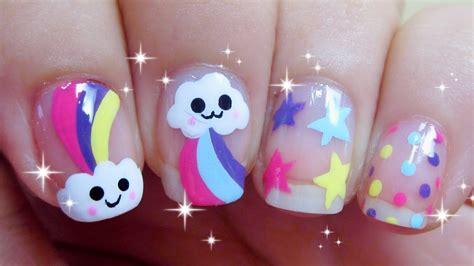 imagenes de uñas infantiles decoradas nail art kawaii de nubes y arcoiris u 209 as decoradas