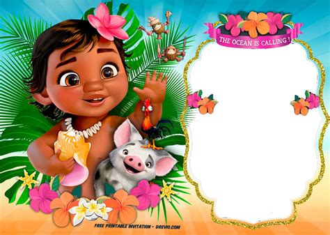 Baby Moana Invitation Template Free free moana birthday invitation template free invitation