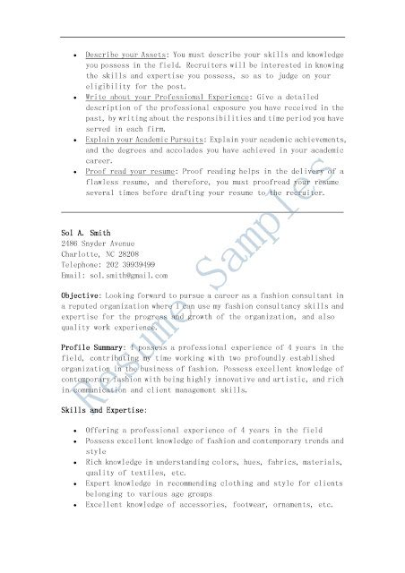 Wardrobe Consultant Sle Resume by Resume Sles Fashion Consultant Resume