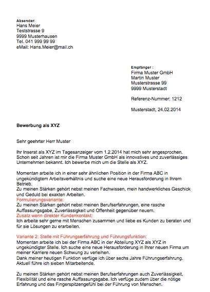 Bewerbungsschreiben Wohnung Muster Schweiz bewerbungsschreiben muster muster vorlage ch