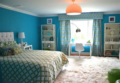 blue and green teen girls room transitional girl s room d2 interieurs girl s rooms turquoise girls room