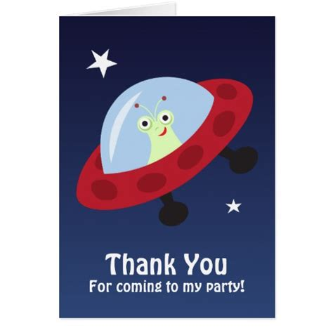 cartoon alien thank you for coming to my party zazzle