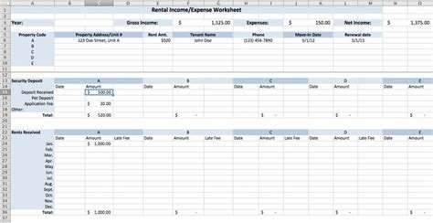 Rental Income And Expenses Spreadsheet by Rental Income And Expense Worksheet Of Finance And On