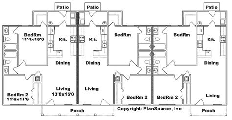 Triplex Floor Plans triplex plan j942t plansource inc