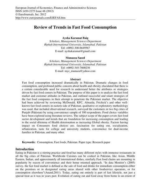 research papers on food review of trends in fast food consumption pdf