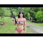 AR15 BABE Almost 50 Year Old Bikini Babe Farm Girl Shooting