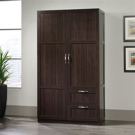 Storage Closet With Doors Storage Cabinets With Drawers Doors Wardrobe Closet Wood Clothing Armoire Cherry Ebay