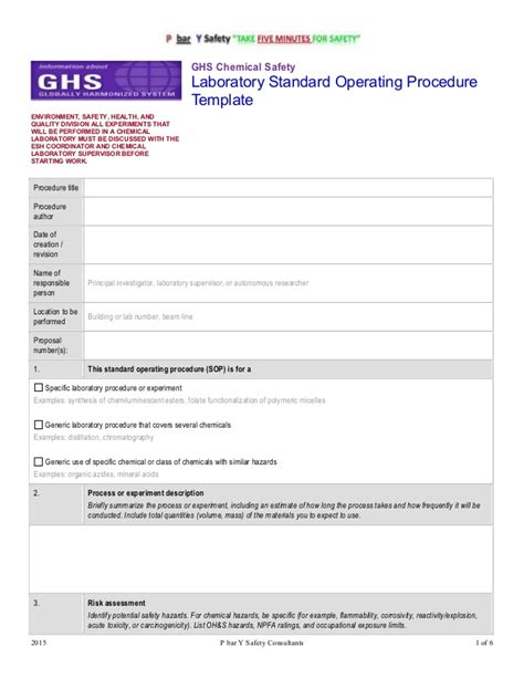 security standards template ghs chemsafety template sop