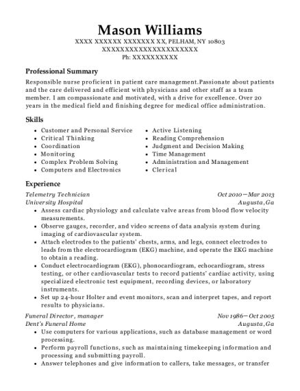 Telemetry Resume by Best Telemetry Technician Resumes Resumehelp