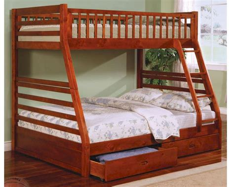 coaster furniture bunk bed coaster furniture twin over full bunk bed in honey oak