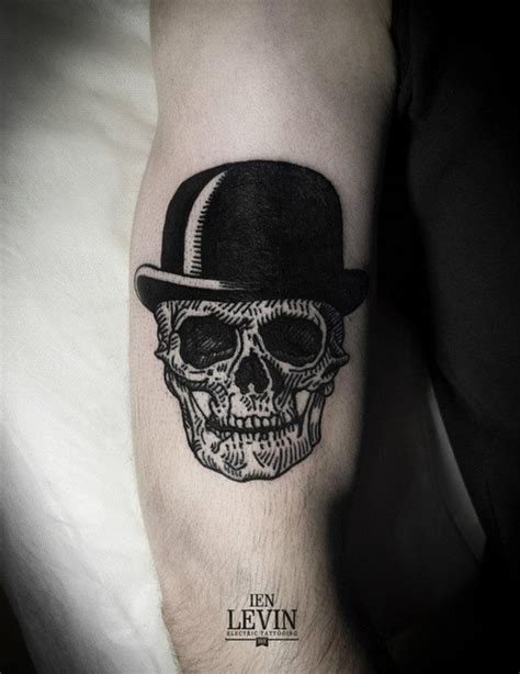 black and white skull tattoos skull with had