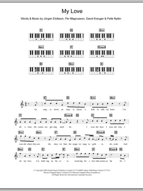 my lyrics with piano chords my sheet direct