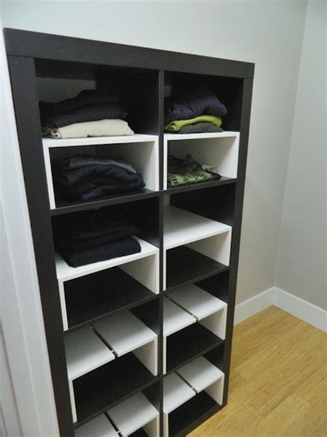 Sliding Drawers For Kitchen Cabinets expedit in the closet with half shelf inserts ikea