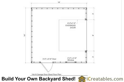 garage door floor plan 14x14 garage shed plans icreatables com