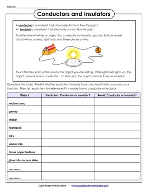 primary resources electrical conductors conductor and insulator worksheet for 2nd and 3rd graders by rbi 1976 teaching resources tes