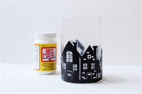 winter scene cylinder vase decor mod podge rocks
