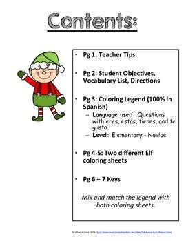 printable elf glyph spanish christmas elf glyph read and color elementary