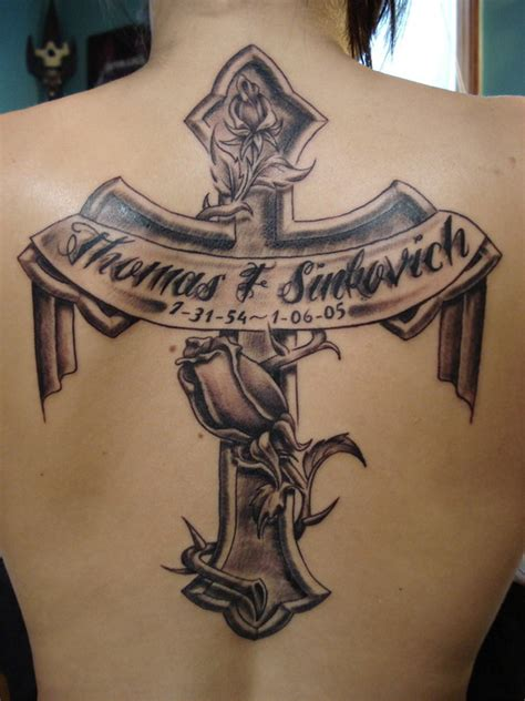 cross with a banner tattoo designs 39 memorial cross tattoos ideas