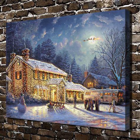 thomas kinkade christmas houses h1395 thomas kinkade snow christmas house house scenery hd canvas print home ᗑ