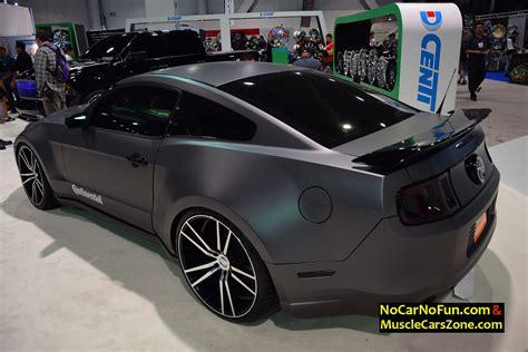 2015 ford mustang dark grey ford mustang dark gray wrapped 2015 sema motor show 4
