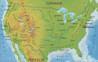 united states map landforms geography physical map of the united states of america