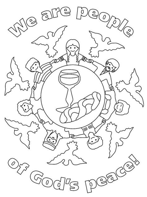 first communion worksheets for children peace coloring