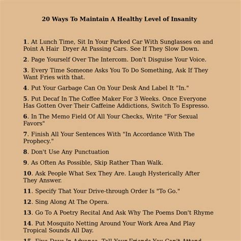 A New Level Of Insanity by 20 Ways To Maintain A Healthy Level Of Insanity Pearltrees