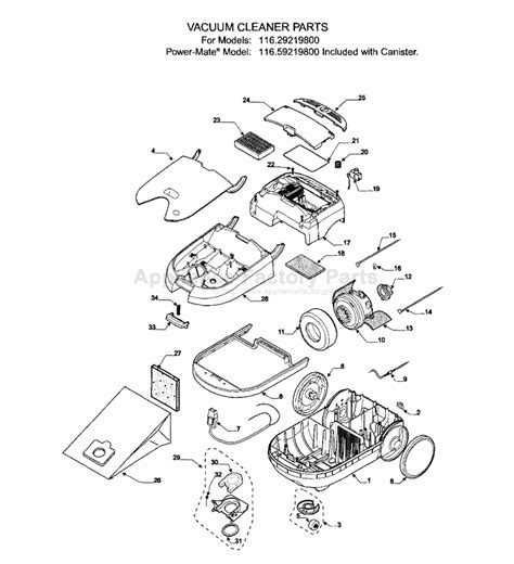 kenmore vacuum model 116 parts diagram kenmore 116 29219800 parts vacuum cleaners