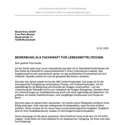 Anschreiben Bewerbung Lebensmitteltechniker Ausbildung bewerbung als fachkraft f 252 r lebensmitteltechnik bewerbung co