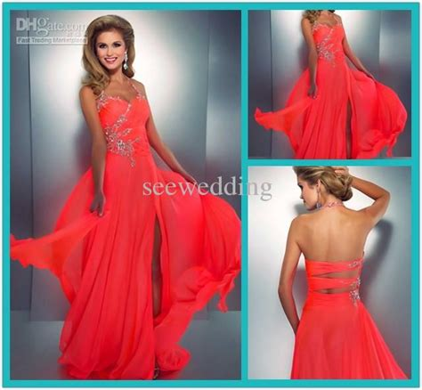 Bright Coral Prom Dresses - discount 2014 coral colored prom dresses
