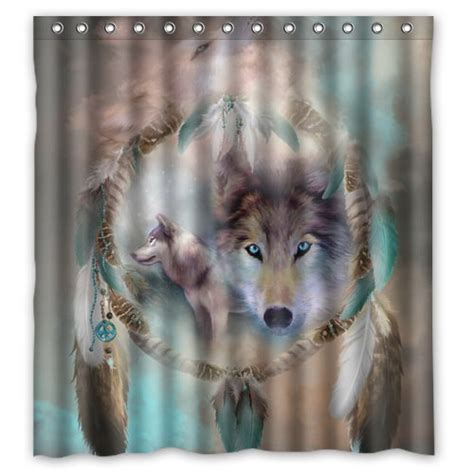 wolf shower curtain wolf shower curtains kritters in the mailbox wolf
