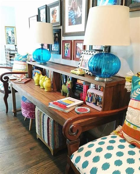 Colorful Entryway Table Eclectic Home Tour Shauna Glenn Design