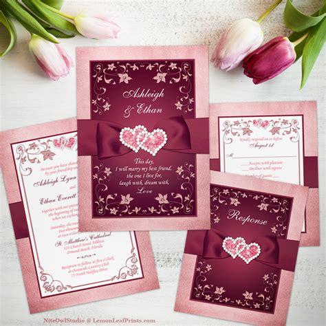 White And Burgundy Wedding Invitations
