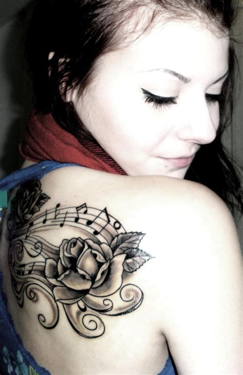 rose and music tattoo inked ideas