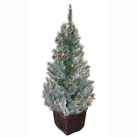 4 ft tree general foam 4 ft pre lit potted frosted pine artificial