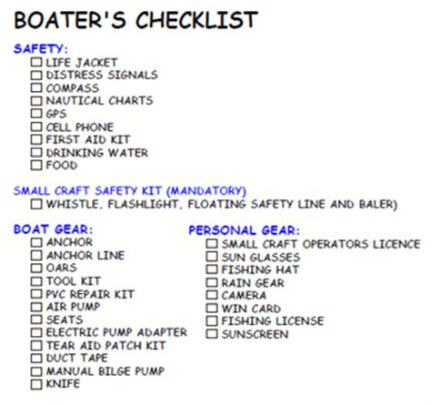 boat safety check boaters use a checklist before getting underway 2012