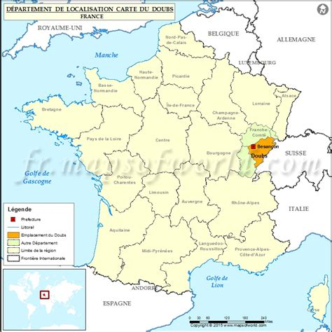 Doubs Carte de localisation, Département Doubs, France