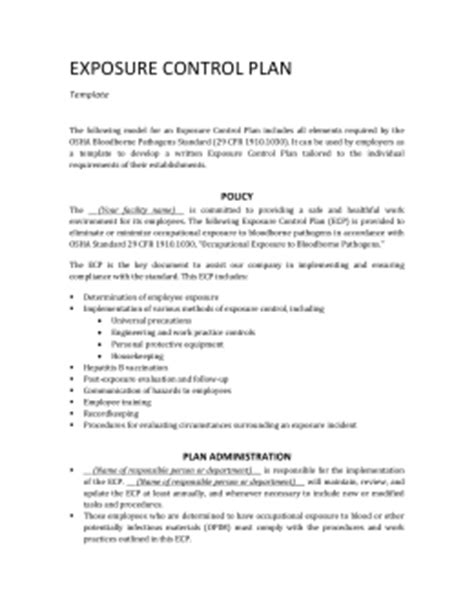 exposure control plan template beepmunk