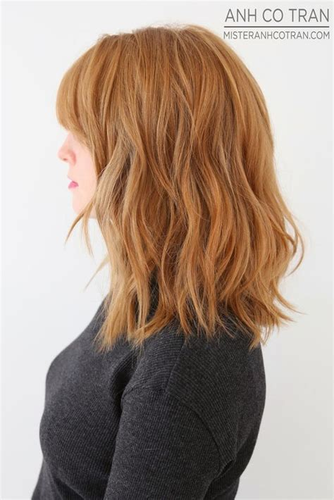 wavy textured lob 17 best images about hair middle length bob bangs