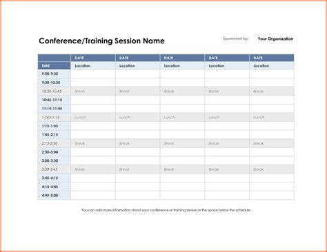 meeting schedule template schedule template free