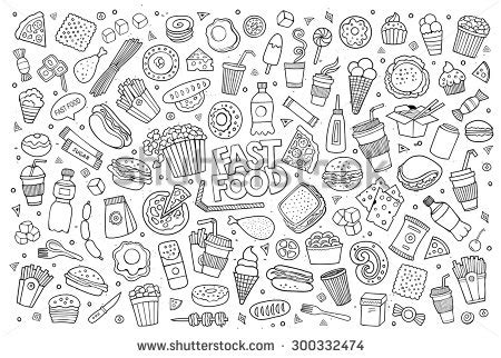 fast food doodle vector fast food doodles colorful vector symbols and