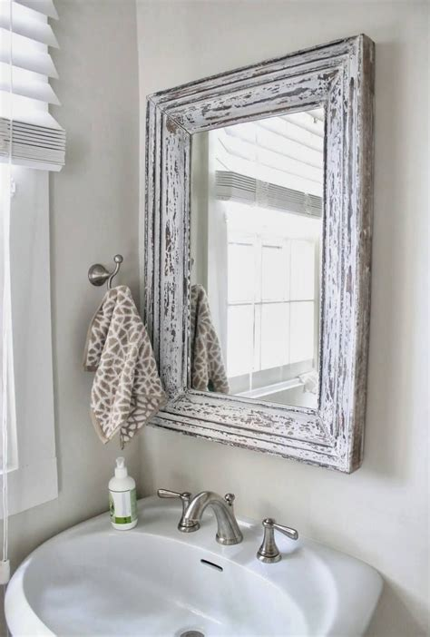 bathroom mirror vintage distressed white bathroom cabinets