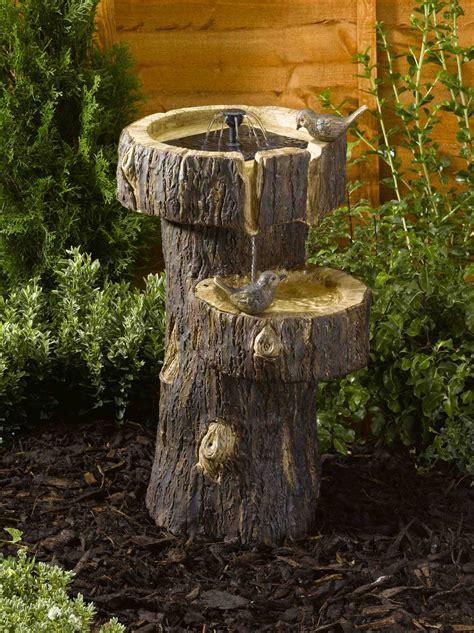 smart solar bark tree trunk birdbath water feature cm