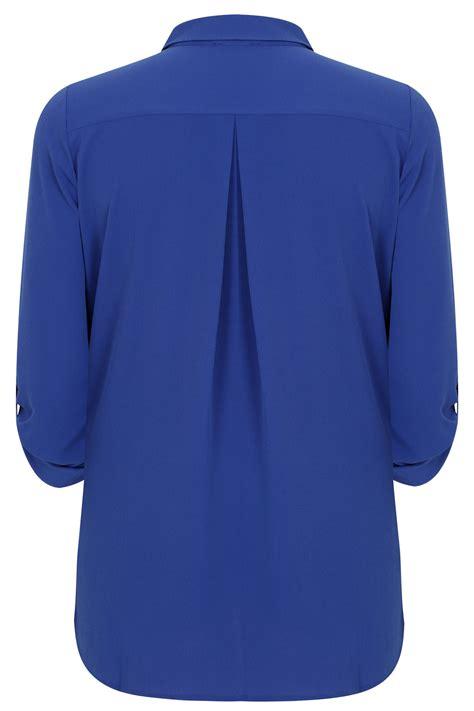 Hem Pocket Button cobalt blue button up crepe shirt with pockets split