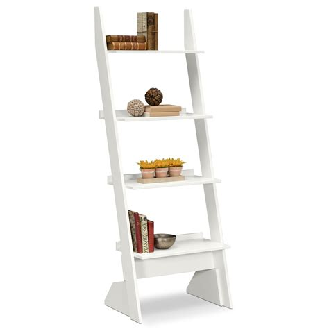 Smart White Ladder Bookcase Doherty House Look Elegant White Ladder Shelf Bookcase