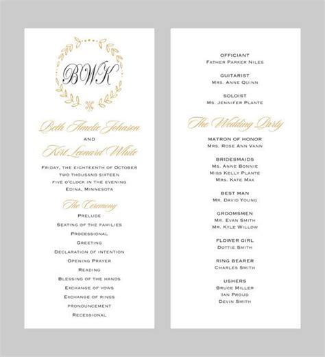 wedding program template tea length gold by