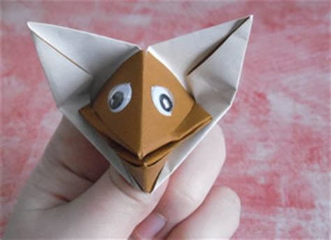 Origami Fox Puppet - 40 tutorials on how to origami a zoo