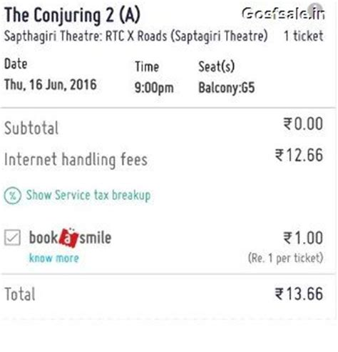 bookmyshow free ticket bookmyshow loot book conjuring 2 movie tickets